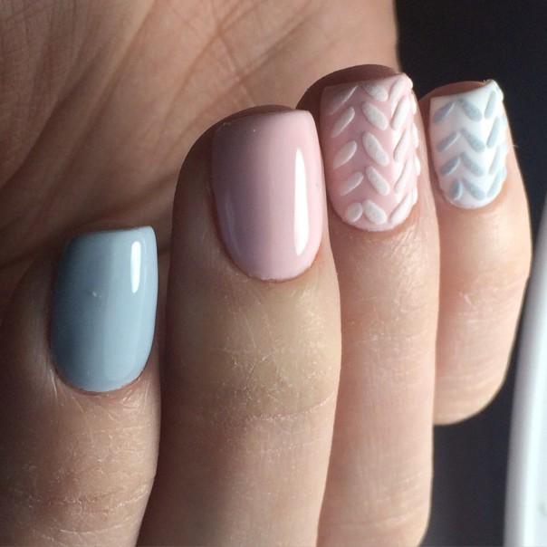 вязаный дизайн ногтей с фото