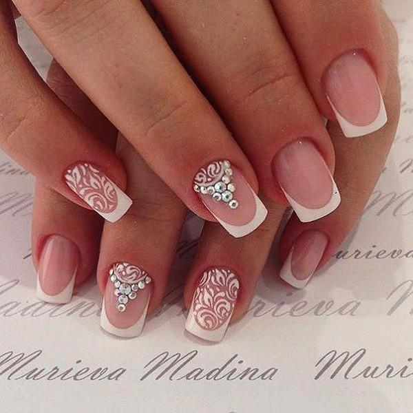 Свадебные рисунки на ногтях френч 90